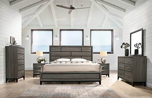 Stout Panel King Size Bedroom Set with Bed, Dresser, Mirror, 2 Night Stands, Chest