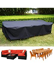 """126 Inch Outdoor Waterproof Furniture Cover, Large Size Rectangular Cover for 6-8 Seats Sofa Furniture Set, 300D Heavy-duty Windproof Dining Table Chair Set Protective Cover, 126""""L x 78.7""""W x 27.5""""H"""
