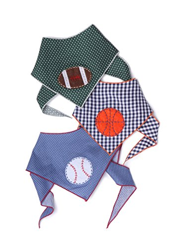 - Tail Trends 3 Pack Pet Dog Bandanas with Sports Applique Designs Basketball Football Baseball - 100% Cotton