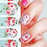 GBSTORE 1 Sheet of 12 Pcs Chic Bloomy Floral Pattern Nail Art Water Decals Transfer Stickers