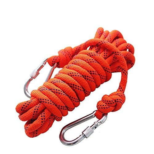 パット浴ポップ登山ロープ、オレンジ径8mm / 10mmロッククライミングロープ、10M、15M、20M、25M、30M、40M、50Mアウトドア探検エスケープレスキューロープ、高強度ナイロンロープ安全ロープ (色 : Diameter-10mm, サイズ さいず : 10m)