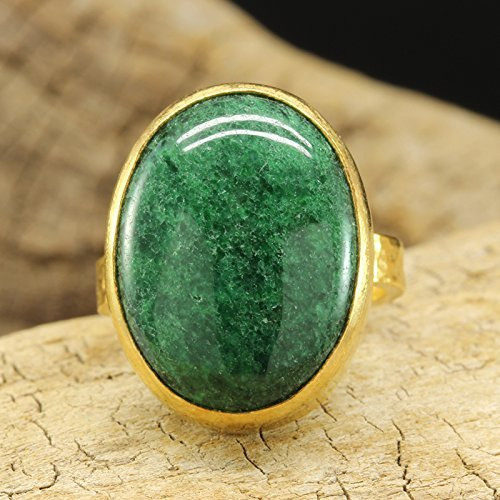 - Natural Nephrite Green Jade Ring 925 Sterling Silver 24K Gold Vermeil Handcrafted Hammered Designer Roman Art Ring Gemstone Right Hand Large Ring