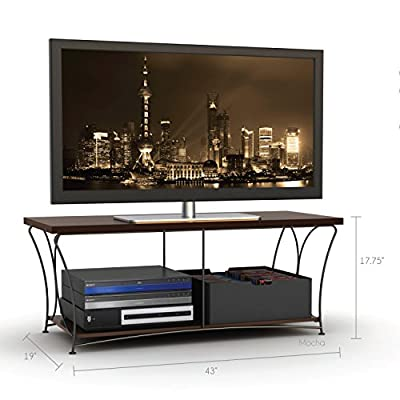 Atlantic 88335760 Nuvo 2-Tier - Mocha - Steel rod frame construction Supports up to 50 inch flat panel up to 135lbs. The lower shelf supports 65 lbs. Non-marring feet - tv-stands, living-room-furniture, living-room - 511dpIUvzSL. SS400  -