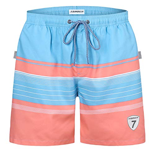 ab8f013da5 LANYI Mens Swim Trunks Swimming Beach Shorts Surfing Board Shorts Swimwear  Quick Dry Mesh Lining Bathing Suits with Pockets (Light Blue Stripe, L)
