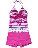 iEFiEL Big Girls Youth Peace Signs Heart Print 2 Piece Tankini Swimwear Swimsuit