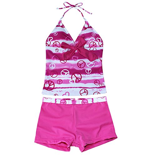 iEFiEL Big Girls Youth Peace Signs Heart Print 2 Piece Tankini Swimwear Swimsuit Hot Pink Size -