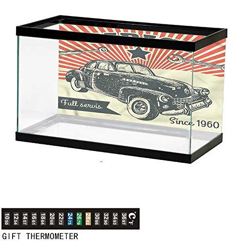 bybyhome Fish Tank Backdrop Cars,60s Retro Car Pop Art,Aquarium Background,30