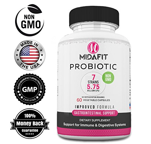 Probiotic for Women and Men by MidaFit Health | High Potency Formula | 5.75 Billion Organisms per Vegetarian Capsules | Clinically Proven Non-GMO Formula | GMP Certified 60 day supply Shelf stable