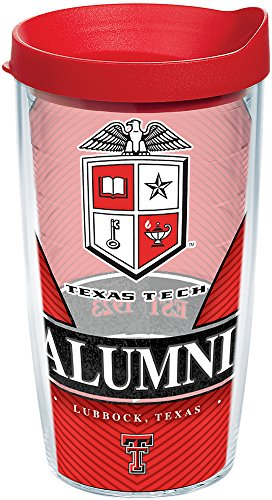 - Tervis 1223703 Texas Tech Red Raiders Alumni Tumbler with Wrap and Red Lid 16oz, Clear