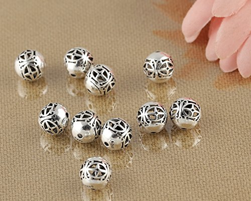 - Luoyi Vintage Thai Sterling Silver Beads, Round with Star Pattern, Hollow, Spacer Beads, DIY (C021Z)