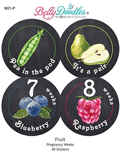 Belly Doodles 40 Weekly Pregnancy Stickers Fruit 3.94inch