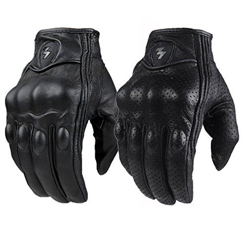 ouyang Top Guantes Fashion Glove real Leather Full Finger Black moto men Motorcycle Gloves Motorcycle Protective Gears Motocross Glove Black M