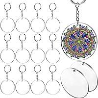 SNOWINSPRING Acrylic Key Chain Blank, Diameter 30 Pieces 5.08 cm Round Acrylic Transparent Disc, 30 Metal Separation Key Chain Ring