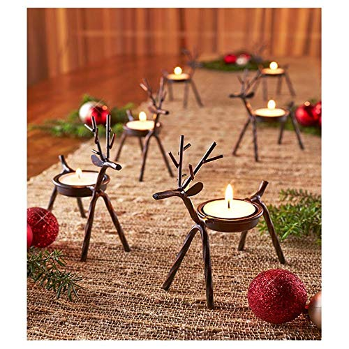 Reindeer Tealight Candle Holders Metal - Set of 6 - Best for Christmas Holiday