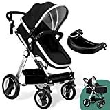 Babyroues Black Newborn to Toddler Baby Stroller – Full Size Luxury Carriage - Infant Bassinet - Reversible Seat - Lightweight Aluminum Frame - Easy Compact Fold - All Terrain Wheels