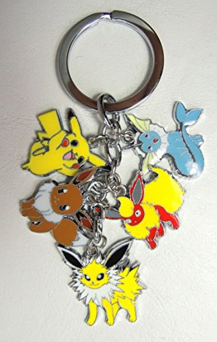 Pokemon alloy keychain with 5 pokemon charms (pikachu+)