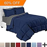 7-Piece Bed-In-A-Bag - Full (Comforter Set: Dark Blue, Sheet Set: Grey)
