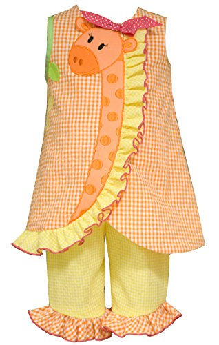 Girls Toddler & 4-6X Orange Gingham Check Appliqued Giraffe Capri Set 3-6M
