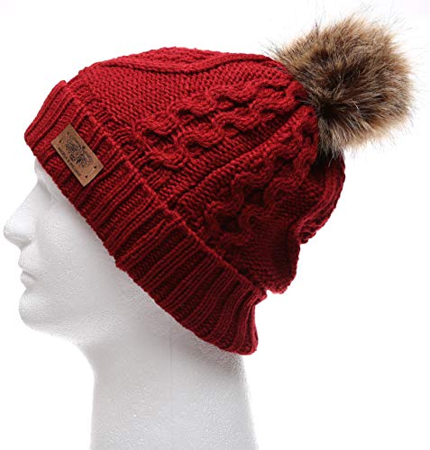 4d77b481654 Women s Winter Fleece Lined Cable Knitted Pom Pom Beanie Hat with Hair Tie.