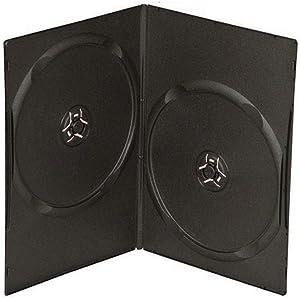 Maxtek 7mm Slim Black Double CD/DVD Case, 50 Pieces Pack.