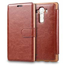 LG G4 Case, LG G4 Case Wallet,Tisuns [Layered Dandy] - [Wallet Case] Take card with clip holster - Leather Flip Cover With Credit Card Slot for LG G4 Case - Brown