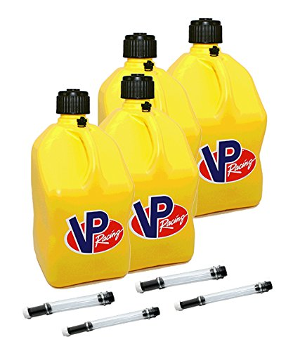 (4 Pack VP 5 Gallon Square Yellow Racing Utility Jugs with 4 Deluxe Filler Hoses)