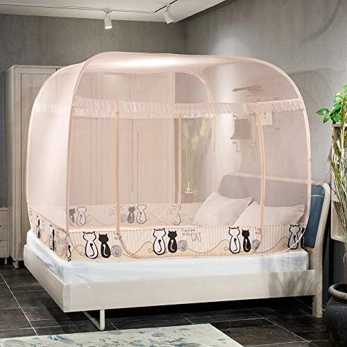 蚊帳テント,折りたたみユルトドームネット プラグインのスタイル ダブルベッドの装飾のための3つの開口部が付いている大きいベッドの天蓋-c
