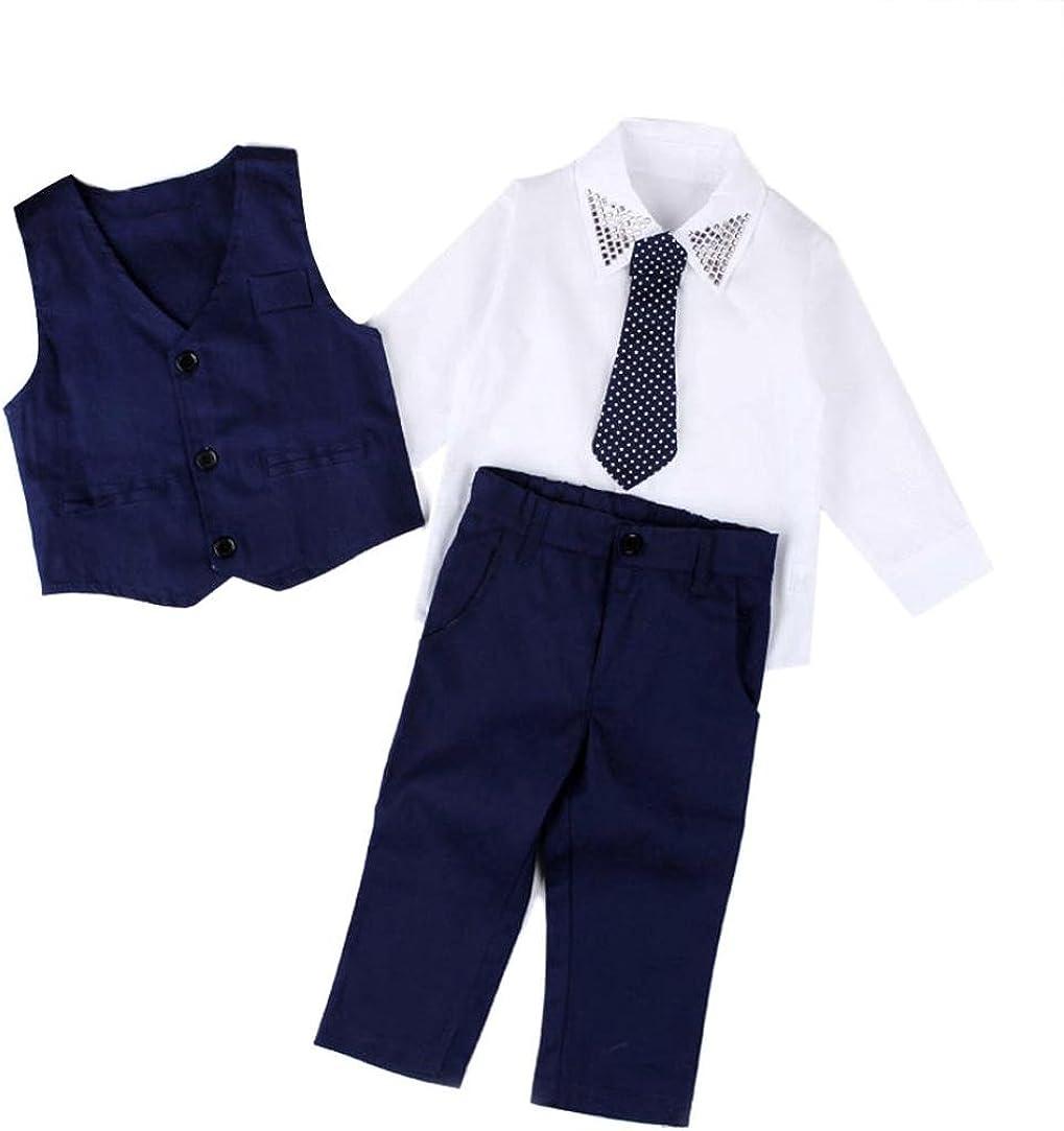 Jinjiu Outfits Set Baby Boy Baby Boys Gentleman Wedding Suits Shirts+Waistcoat+Long Pants+Tie Clothes 1Set
