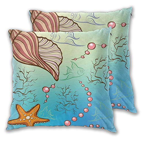 lsrIYzy Decorations Throw Pillow Cushion Cover Set of 2,Under The Sea Theme with Pearls Shell Starfish Fishes Nautical Marine Life Image,Square Accent Pillow Case 16x16 inches