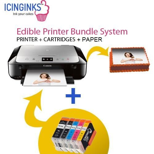 Icinginks Latest Edible Printer Bundle, Includes 50 Wafer Sheets With Refillable Edible Cartridges, Cake Printer, Edible Ink Printer (Wireless+Scanner) , Edible Image Printer, Canon Edible Printer by Icinginks