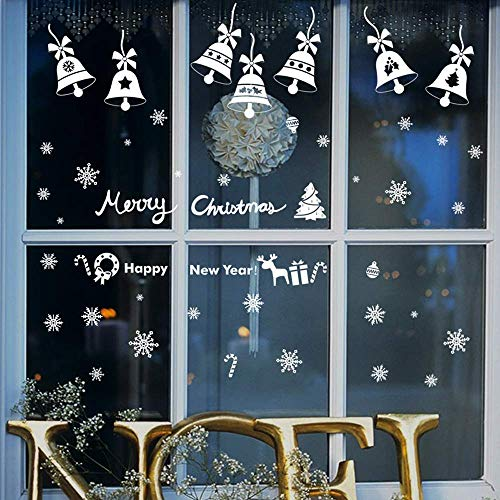 Xmas Party Decorations Window Snowflakes Stickers Clings Set-6PCS,Winter Wonderland Decal Ornaments Included White Snowflakes/Baubles/Bells/Merry Christmas Happy New Year Words ()