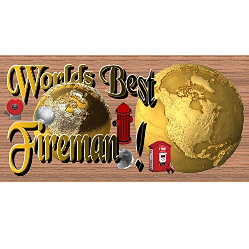 rfy9u7 Wood Signs Worlds Best Fireman Wood Plaque 816 Inches Wooden Sign