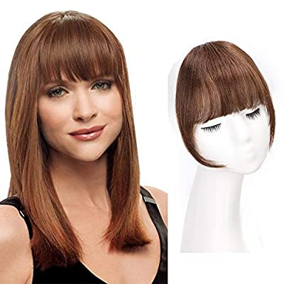 Clip in Bangs Hair Extensions Medium Brown Human Hair Air Bangs/Fringe Hairpiece Air Bangs with Temple for Women One Piece