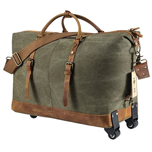Kattee Luggage Rolling Duffel Bag Leather Trim Canvas Wheeled Carry-on Travel Bag 50L (Army Green) by Kattee (Image #1)