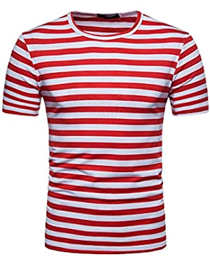 Men's Summer Casual Stripe Short Sleeve Round Neck Pullover T-Shirt Top Blouse