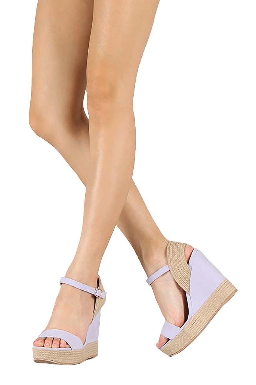 74d5403be0f2 Qupid Women s Hampton Faux Suede Ankle Strap Espadrille Platform Wedge  Sandal Shoe 80%OFF