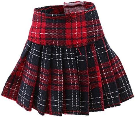 Perfeclan 人形服 プリーツスカート ドレス 1/6ブライスアゾンリッカドール用 装飾 アクセサリー レッド