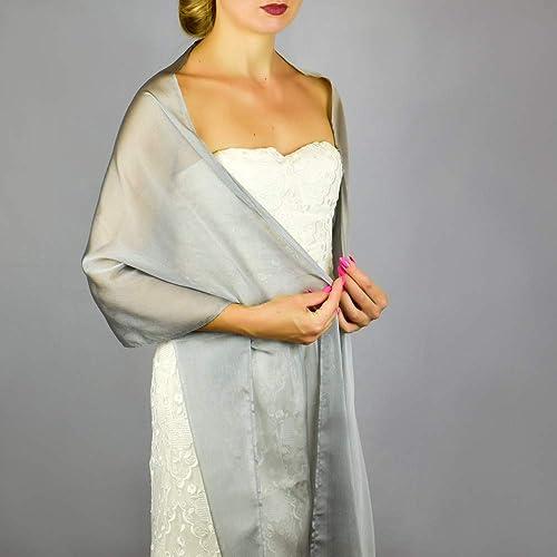 Stole donna chiffon grigio argento scialli vestito da sposa nuziale poncho  bronzo a130ab0c51e