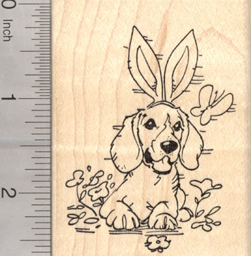 Easter Beagle Dog Rubber Stamp, with Bunny Ears and Butterfly