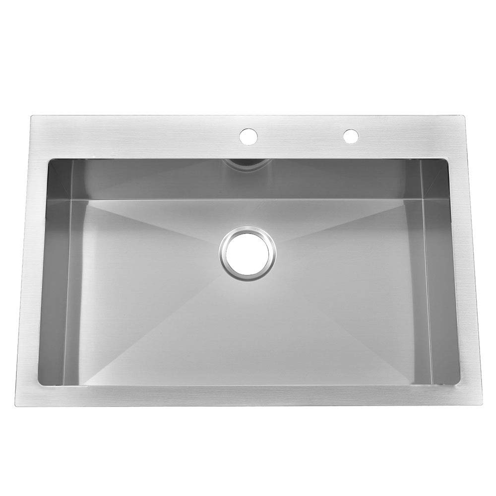 KINGO HOME Commercial 33 x 22 Inch 10 Inch Extra Deep Handmade Top Mount T304 Stainless Steel Drop-In Single Bowl Kitchen Sink