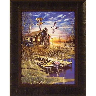 My Favorite Place by Jim Hansel 17x21 Cabin Boat Duck Mallards Ducks Framed Art Print Wall Décor Picture