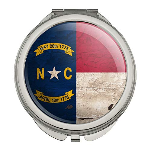 Rustic North Carolina State Flag Distressed USA Compact Travel Purse Handbag Makeup Mirror
