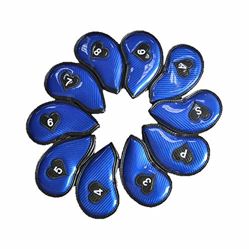 Convenient High-Grade PU Material Glossy Golf Putter Headcover Standard Size Moisture Golf Putter Cover Personalized Golf Club Protector,10PCS Durable (Color : Blue, Size : Free)
