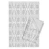 Roostery Abstract Lines Tea Towels Grey Mirror Abstract by Modfox Set of 2 Linen Cotton Tea Towels