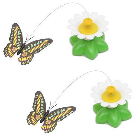 Eléctrico El Plastico Mariposa Volador alrededor Flores Gracioso Gato Juguetes Eléctrico Molestar Gato Juguete Interactivo Gato