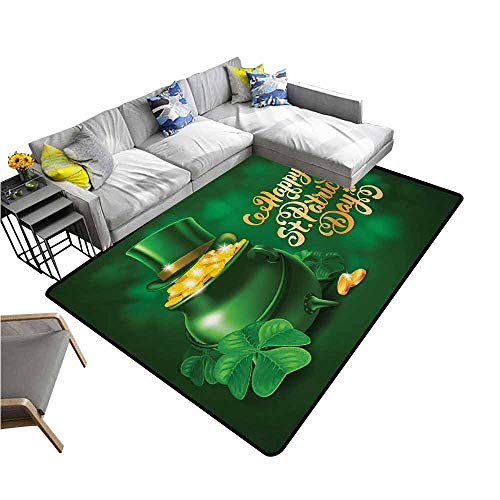 Slip-Resistant Washable Entrance Doormat St. Patricks Day,Large Pot of Gold Leprechaun Hat and Shamrocks Greetings 17th March,Gold and Emerald 48