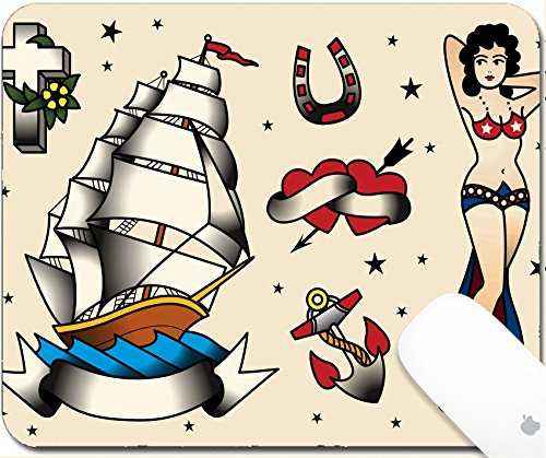 Price comparison product image Luxlady Gaming Mousepad 9.25in X 7.25in IMAGE: 33678805 Tattoo Flash Set Vector Illustration Icon Cartoon