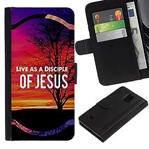 All Phone Most Case / Oferta Especial Cáscara Funda de cuero Monedero Cubierta de proteccion Caso / Wallet Case for Samsung Galaxy S5 Mini, SM-G800 // BIBLE Live As A Disciple Of Jesus