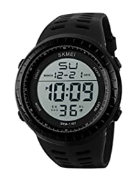 SKMEI Men's SK1167B Outdoor Sports Big Dial Numerical Digital Display Waterproof Wrist Watch Black