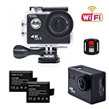 TEKCAM 7000S 4K Wifi Action Camera Ultra HD 12MP Waterproof Sports Camera 170 Degree Wide Angel Lens with 2.4G Remote Control 2 Rechargeable 1050mAh Batteries and Mounting Accessories